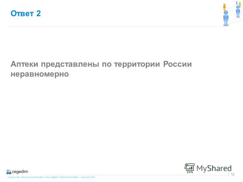 This document should not be distributed without Cegedim Dendrite authorization – Copyright 2010 12 | Ответ 2 Аптеки представлены по территории России неравномерно