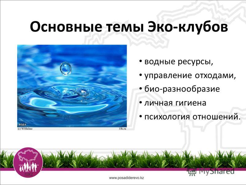 Основные темы Эко-клубов водные ресурсы, управление отходами, био-разнообразие личная гигиена психология отношений.