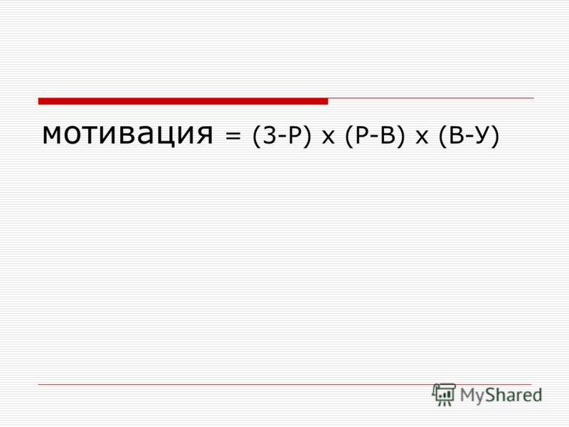 мотивация = (3-Р) х (Р-В) х (В-У)