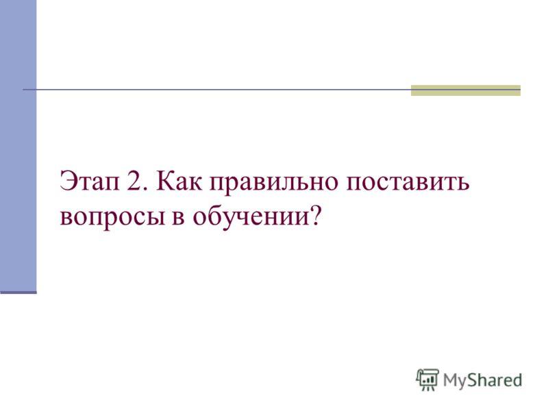 Этап 2. Как правильно поставить вопросы в обучении?