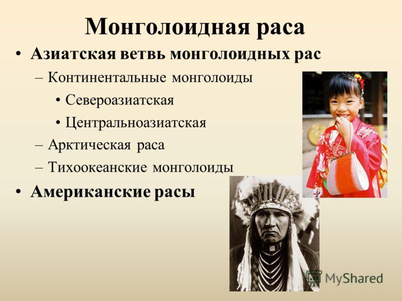 Монголоидная раса Азиатская ветвь монголоидных рас –Континентальные монголоиды Североазиатская Центральноазиатская –Арктическая раса –Тихоокеанские монголоиды Американские расы