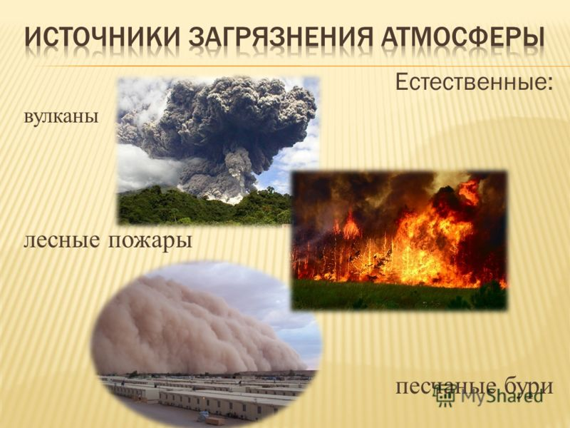 Естественные: вулканы лесные пожары песчаные бури