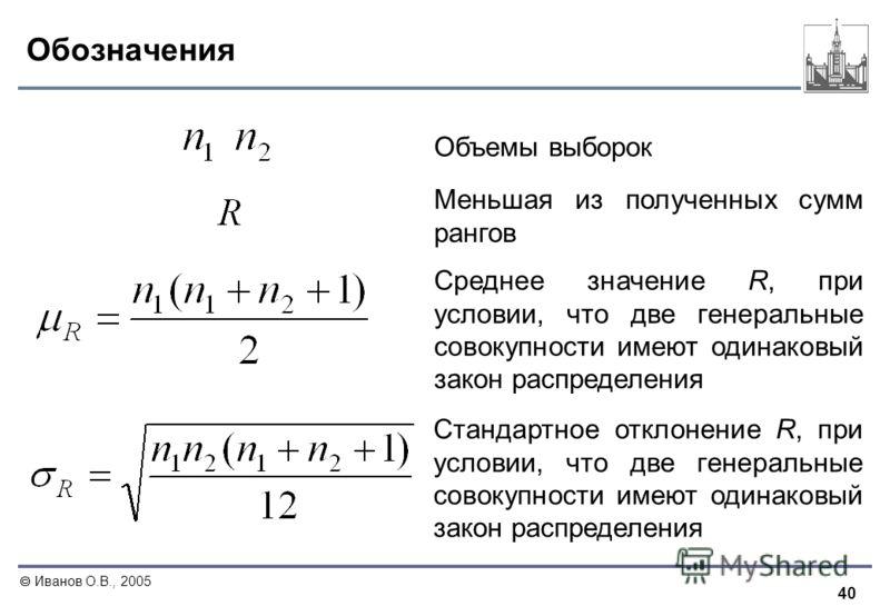 40 Иванов О.В., 2005 Обозначения Среднее значение R, при условии, что две генеральные совокупности имеют одинаковый закон распределения Стандартное отклонение R, при условии, что две генеральные совокупности имеют одинаковый закон распределения Объем