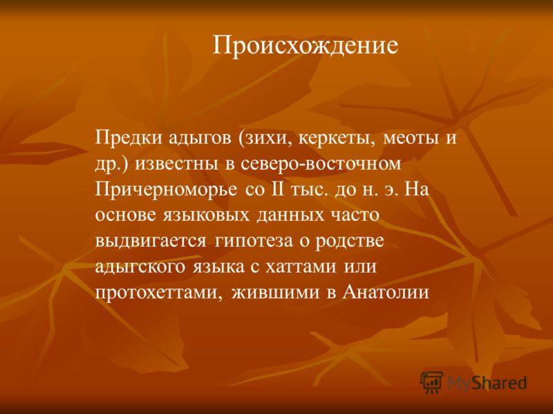 Происхождение Предки адыгов (зихи, керкеты, меоты и др.) известны в северо-восточном Причерноморье со II тыс. до н. э. На основе языковых данных часто выдвигается гипотеза о родстве адыгского языка с хаттами или протохеттами, жившими в Анатолии