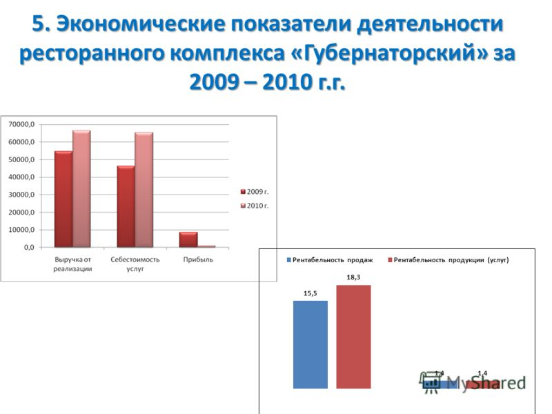 5. Экономические показатели деятельности ресторанного комплекса «Губернаторский» за 2009 – 2010 г.г.