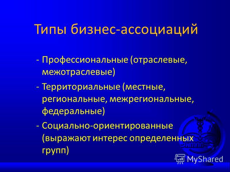 Типы бизнес-ассоциаций -Профессиональные (отраслевые, межотраслевые) -Территориальные (местные, региональные, межрегиональные, федеральные) -Социально-ориентированные (выражают интерес определенных групп)