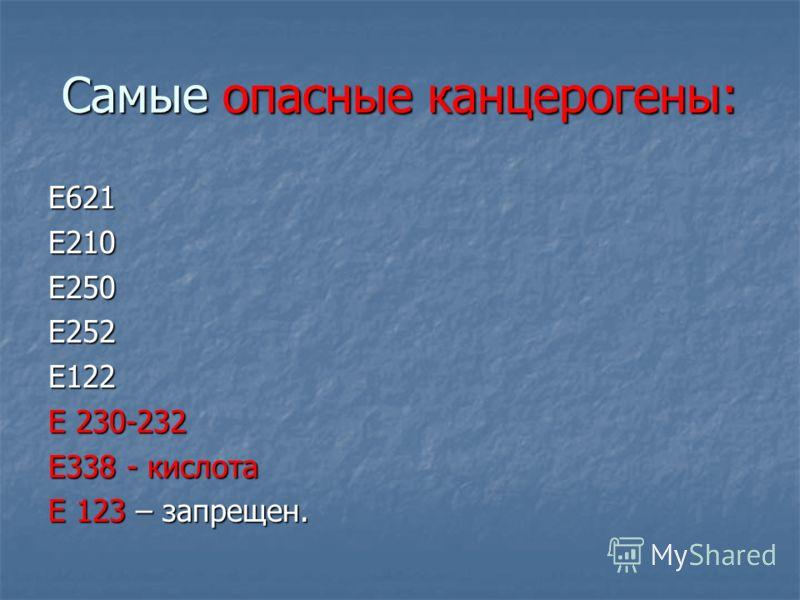 Самые опасные канцерогены: Е621Е210Е250Е252Е122 Е 230-232 Е338 - кислота Е 123 – запрещен.
