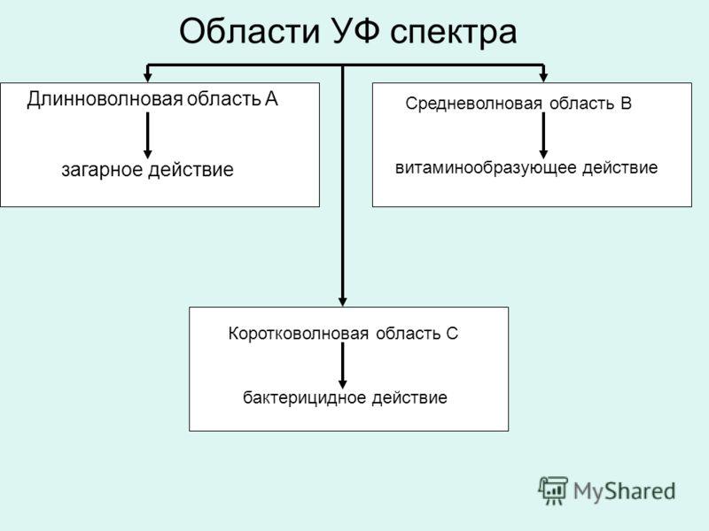 Области УФ спектра Длинноволновая область А загарное действие Средневолновая область В витаминообразующее действие Коротковолновая область С бактерицидное действие