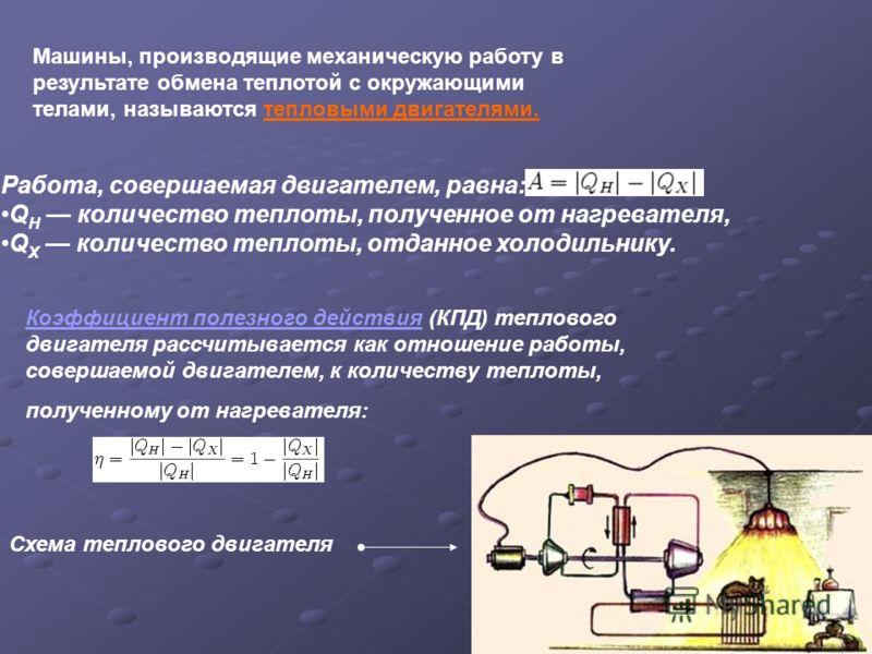 Схема теплового двигателя Машины, производящие механическую работу в результате обмена теплотой с окружающими телами, называются тепловыми двигателями. Работа, совершаемая двигателем, равна: Q H количество теплоты, полученное от нагревателя, Q X коли