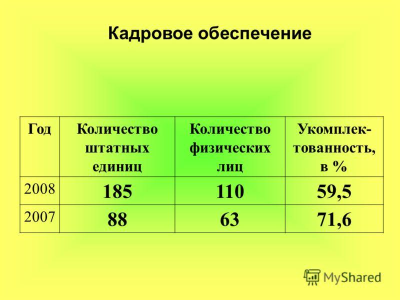 Кадровое обеспечение ГодКоличество штатных единиц Количество физических лиц Укомплек- тованность, в % 2008 18511059,5 2007 886371,6