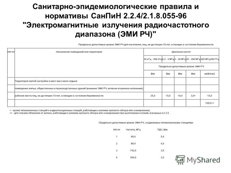 Санитарно-эпидемиологические правила и нормативы СанПиН 2.2.4/2.1.8.055-96 Электромагнитные излучения радиочастотного диапазона (ЭМИ РЧ)
