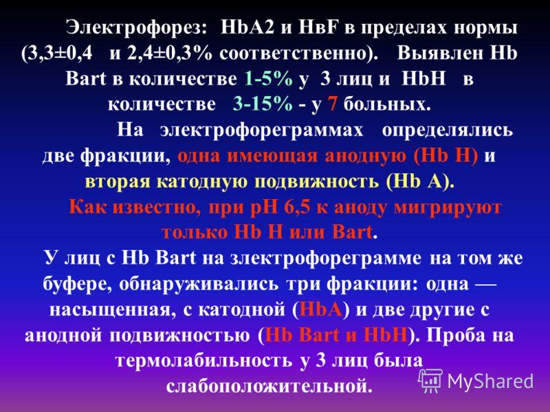 Электрофорез: HbА2 и НвF в пределах нормы (3,3±0,4 и 2,4±0,3% соответственно). Выявлен Hb Bart в количестве 1-5% у 3 лиц и HbН в количестве 3-15% - у 7 больных. На электрофореграммах определялись две фракции, одна имеющая анодную (Hb Н) и вторая като