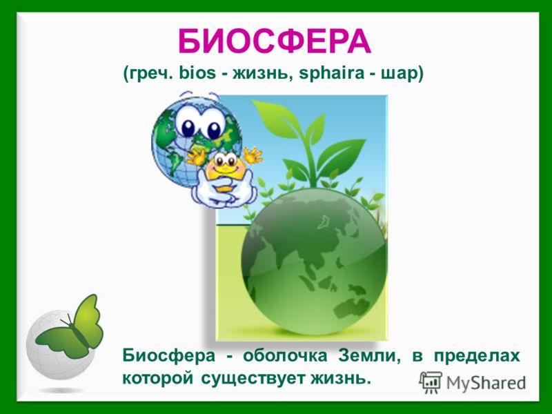 БИОСФЕРА (греч. bios - жизнь, sphaira - шар) Биосфера - оболочка Земли, в пределах которой существует жизнь.