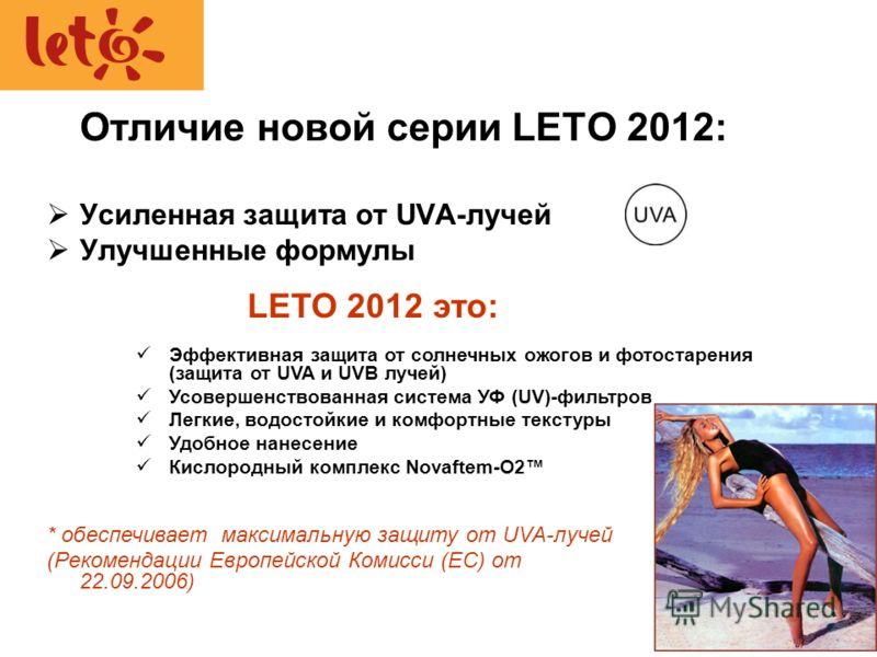 Отличие новой серии LETO 2012: Усиленная защита от UVA-лучей * Улучшенные формулы Эффективная защита от солнечных ожогов и фотостарения (защита от UVA и UVB лучей) Усовершенствованная система УФ (UV)-фильтров Легкие, водостойкие и комфортные текстуры