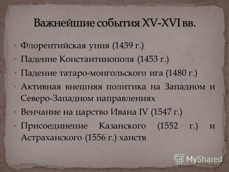 Флорентийская уния (1439 г.) Падение Константинополя (1453 г.) Падение татаро-монгольского ига (1480 г.) Активная внешняя политика на Западном и Северо-Западном направлениях Венчание на царство Ивана IV (1547 г.) Присоединение Казанского (1552 г.) и