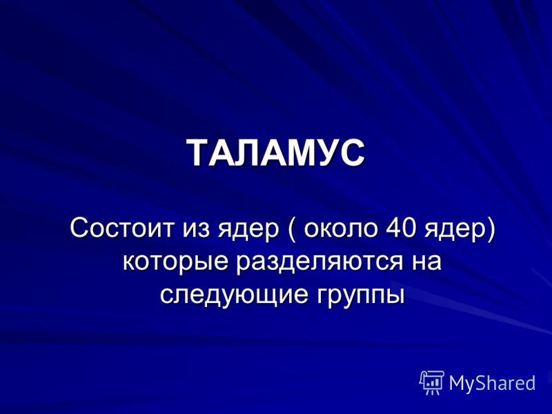 ТАЛАМУС Состоит из ядер ( около 40 ядер) которые разделяются на следующие группы