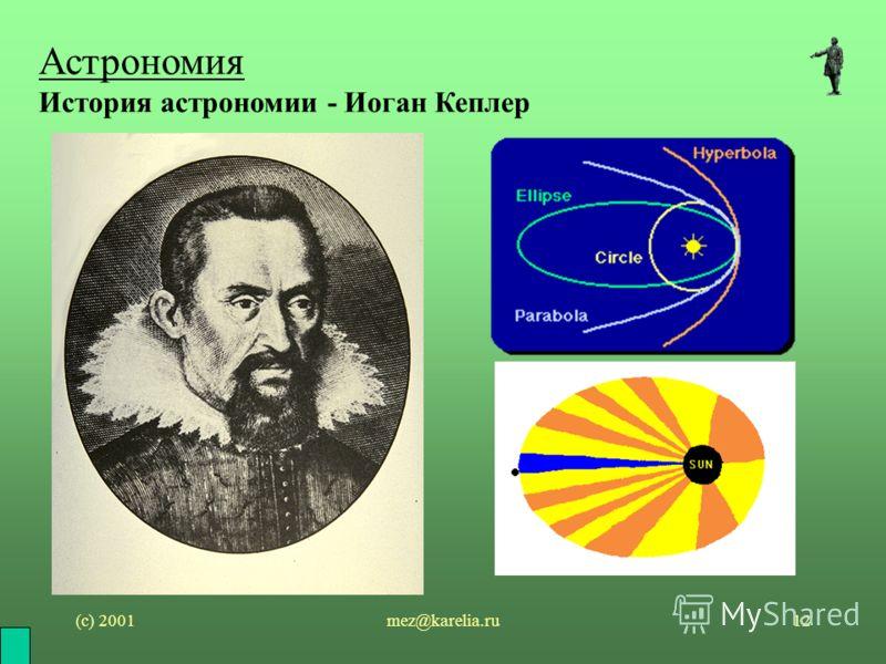 (с) 2001mez@karelia.ru12 Астрономия История астрономии - Иоган Кеплер