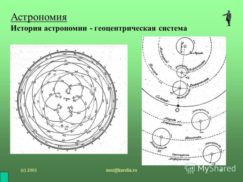 (с) 2001mez@karelia.ru8 Астрономия История астрономии - геоцентрическая система