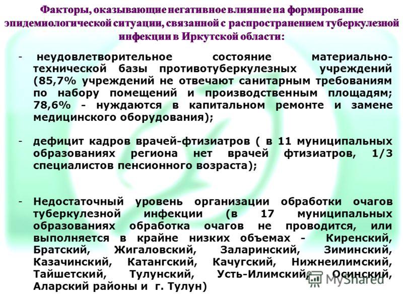 Факторы, оказывающие негативное влияние на формирование эпидемиологической ситуации, связанной с распространением туберкулезной инфекции в Иркутской области: - неудовлетворительное состояние материально- технической базы противотуберкулезных учрежден