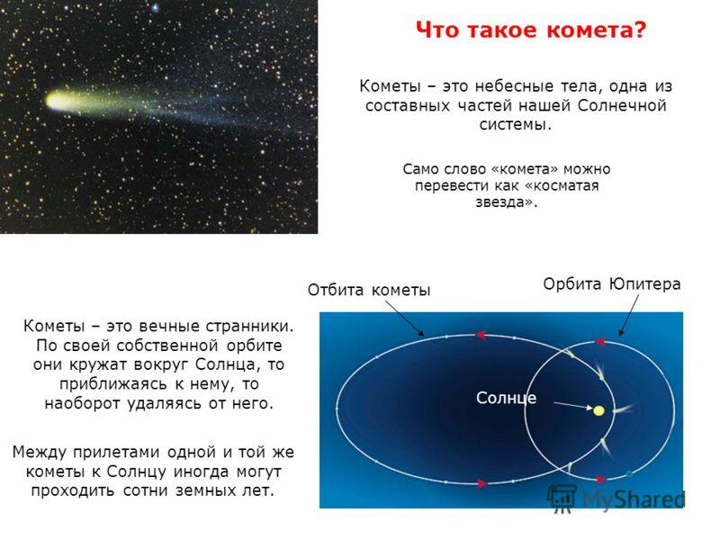 Кометы – это вечные странники. По своей собственной орбите они кружат вокруг Солнца, то приближаясь к нему, то наоборот удаляясь от него. Орбита Юпитера Отбита кометы Солнце Что такое комета? Между прилетами одной и той же кометы к Солнцу иногда могу