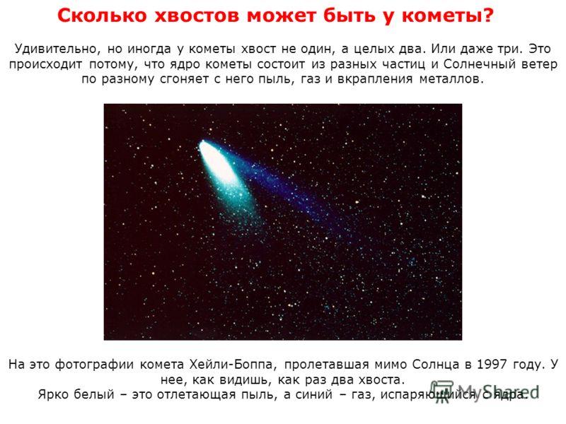 Сколько хвостов может быть у кометы? Удивительно, но иногда у кометы хвост не один, а целых два. Или даже три. Это происходит потому, что ядро кометы состоит из разных частиц и Солнечный ветер по разному сгоняет с него пыль, газ и вкрапления металлов