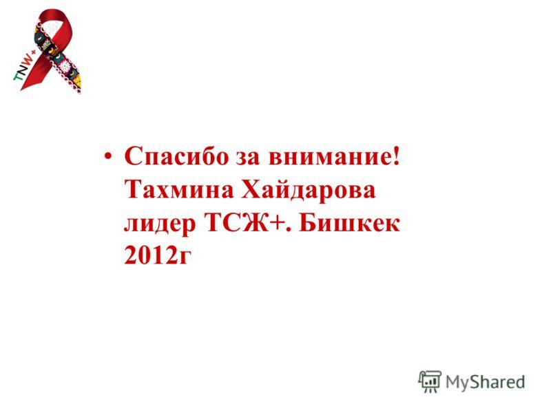 Спасибо за внимание! Тахмина Хайдарова лидер ТСЖ+. Бишкек 2012г