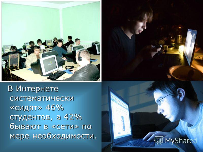 В Интернете систематически «сидят» 46% студентов, а 42% бывают в «сети» по мере необходимости. В Интернете систематически «сидят» 46% студентов, а 42% бывают в «сети» по мере необходимости.