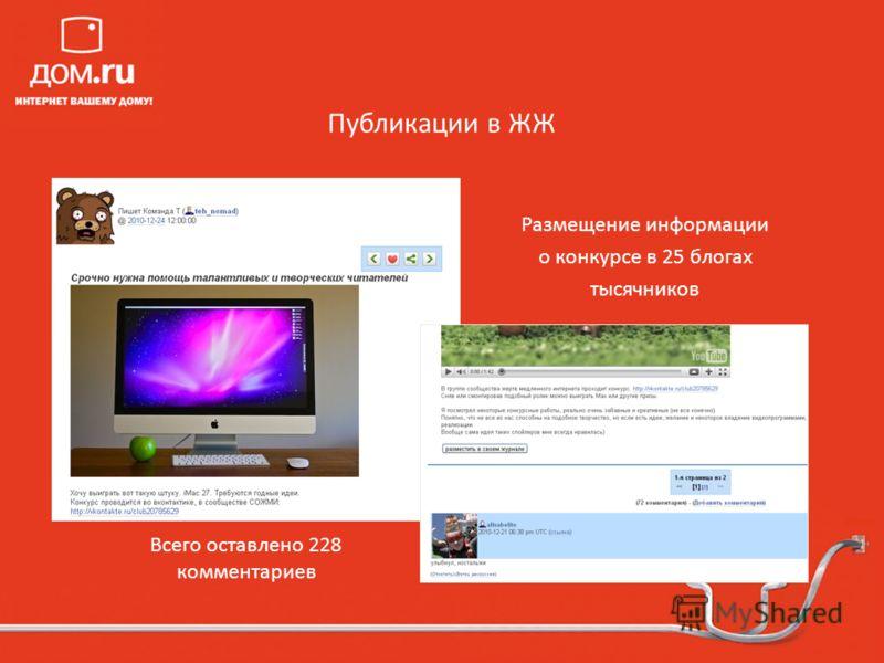 Публикации в ЖЖ Размещение информации о конкурсе в 25 блогах тысячников Всего оставлено 228 комментариев