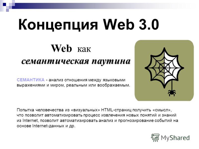 Концепция Web 3.0 семантическая паутина Web как семантическая паутина Попытка человечества из «визуальных» HTML-страниц получить «смысл», что позволит автоматизировать процесс извлечения новых понятий и знаний из Internet, позволит автоматизировать а