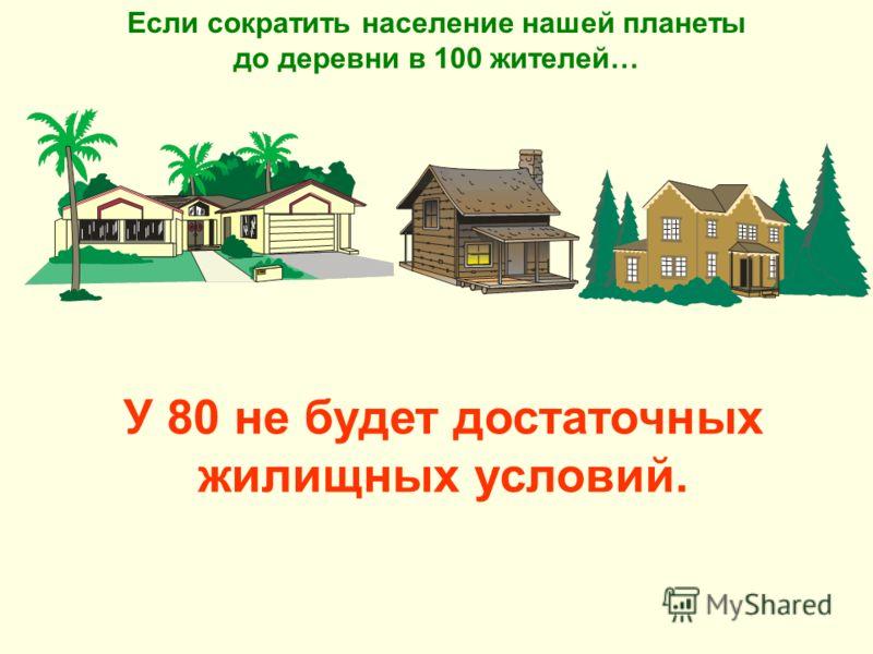 У 80 не будет достаточных жилищных условий. Если сократить население нашей планеты до деревни в 100 жителей…