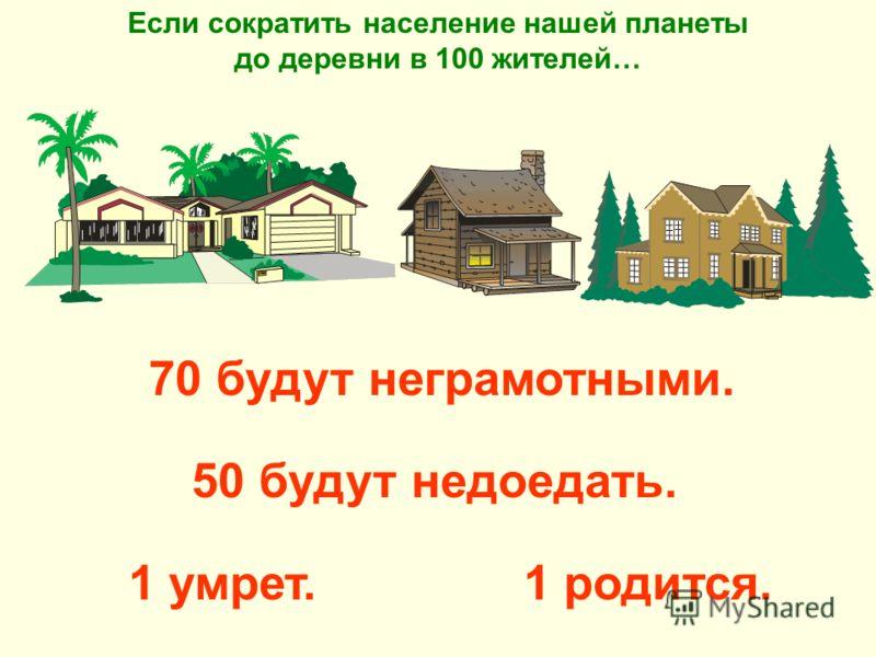 1 родится. Если сократить население нашей планеты до деревни в 100 жителей… 70 будут неграмотными. 50 будут недоедать. 1 умрет.