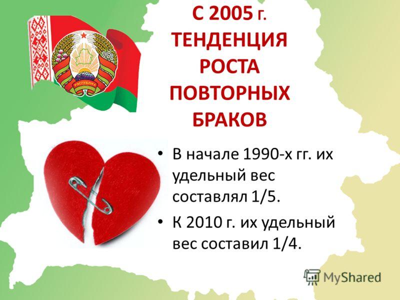 С 2005 Г. ТЕНДЕНЦИЯ РОСТА ПОВТОРНЫХ БРАКОВ В начале 1990-х гг. их удельный вес составлял 1/5. К 2010 г. их удельный вес составил 1/4.