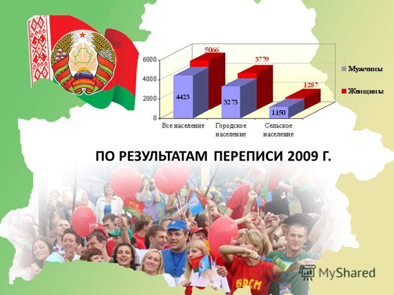 ПО РЕЗУЛЬТАТАМ ПЕРЕПИСИ 2009 Г.