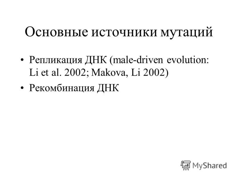 Основные источники мутаций Репликация ДНК (male-driven evolution: Li et al. 2002; Makova, Li 2002) Рекомбинация ДНК