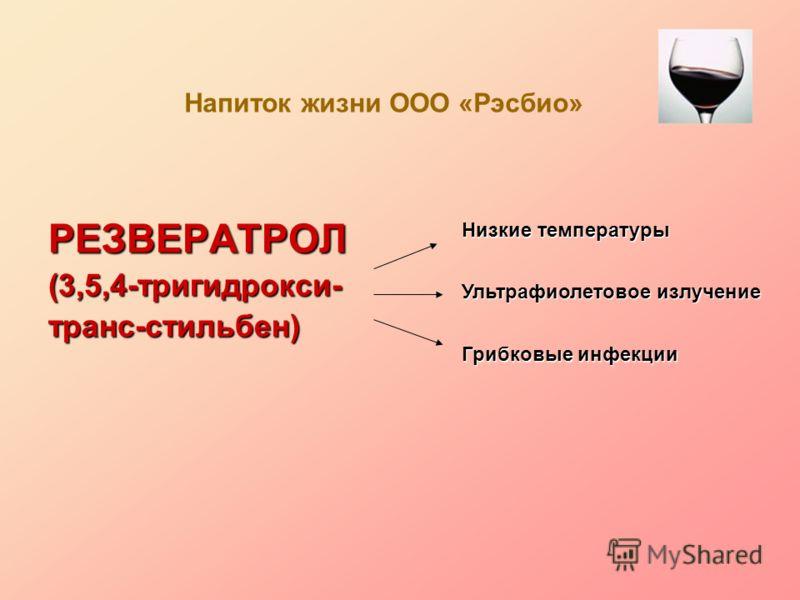 РЕЗВЕРАТРОЛ(3,5,4-тригидрокси-транс-стильбен) Напиток жизни ООО «Рэсбио» Низкие температуры Ультрафиолетовое излучение Грибковые инфекции