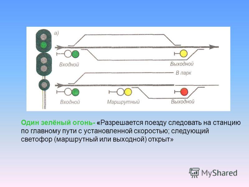 Один зелёный огонь- «Разрешается поезду следовать на станцию по главному пути с установленной скоростью; следующий светофор (маршрутный или выходной) открыт»