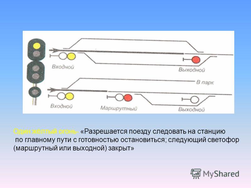 Один жёлтый огонь - «Разрешается поезду следовать на станцию по главному пути с готовностью остановиться; следующий светофор (маршрутный или выходной) закрыт»