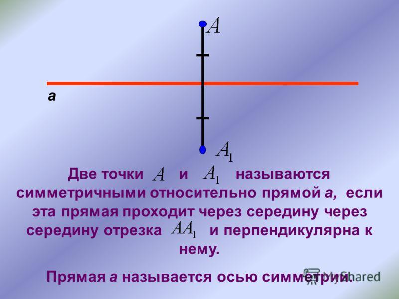 а Две точки и называются симметричными относительно прямой а, если эта прямая проходит через середину через середину отрезка и перпендикулярна к нему. Прямая а называется осью симметрии.