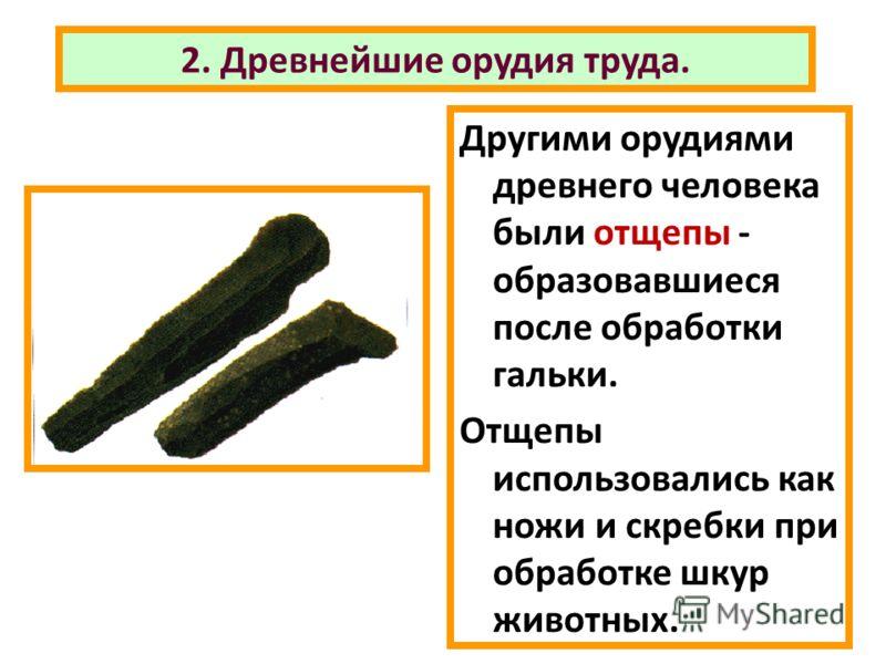 2. Древнейшие орудия труда. Другими орудиями древнего человека были отщепы - образовавшиеся после обработки гальки. Отщепы использовались как ножи и скребки при обработке шкур животных.