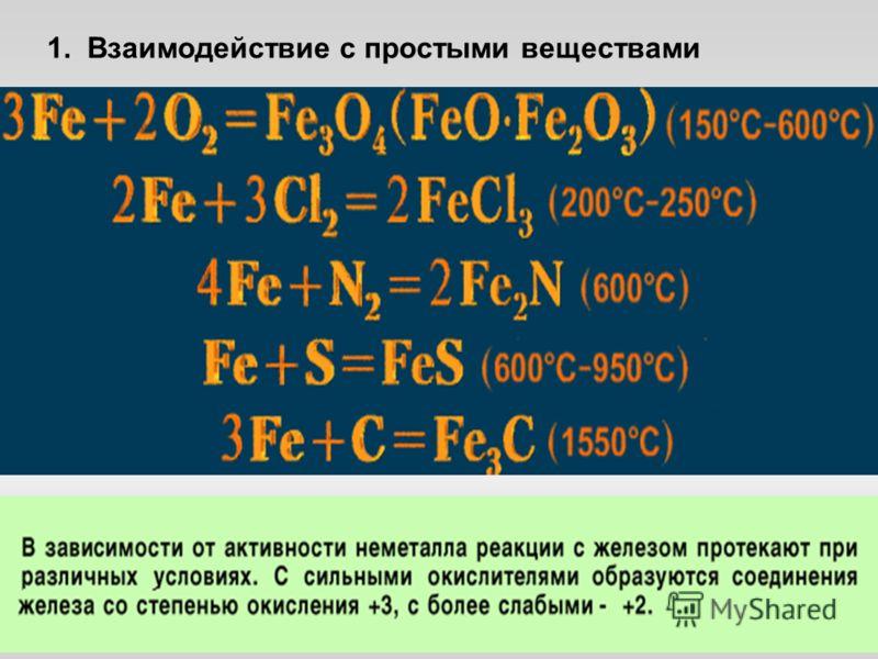 1. Взаимодействие с простыми веществами