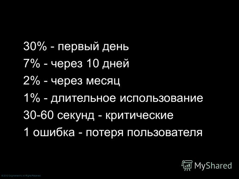 30% - первый день 7% - через 10 дней 2% - через месяц 1% - длительное использование 30-60 секунд - критические 1 ошибка - потеря пользователя © 2012 Cogniance Inc. All Rights Reserved.