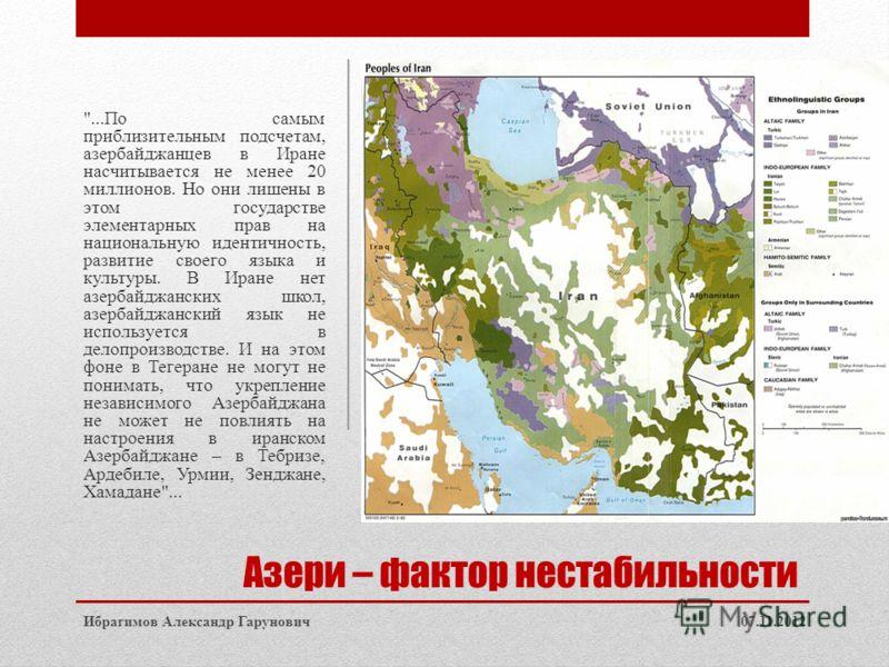 Азери – фактор нестабильности