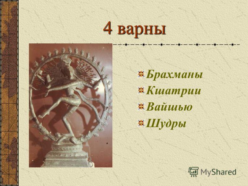 4 варны Брахманы Кшатрии Вайшью Шудры