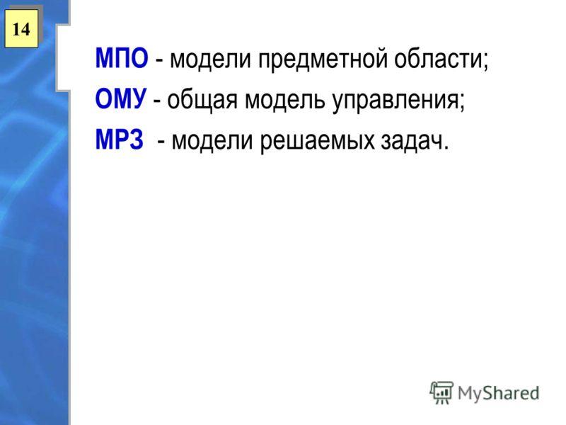 14 МПО - модели предметной области; ОМУ - общая модель управления; МРЗ - модели решаемых задач.