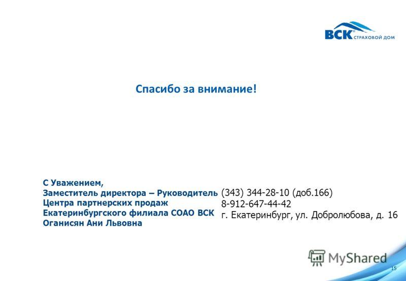 Формат взаимодействия с Агентствами Недвижимости 14 Алгоритм взаимодействия между Агентством и ВСК по коллективной схеме Документы на объект недвижимости отправляются на электронный адрес контактного лица страховой компании (СК) за 2-5 дней до сделки