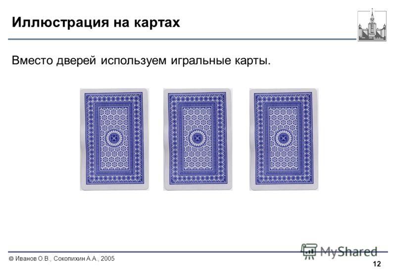 12 Иванов О.В., Соколихин А.А., 2005 Иллюстрация на картах Вместо дверей используем игральные карты.