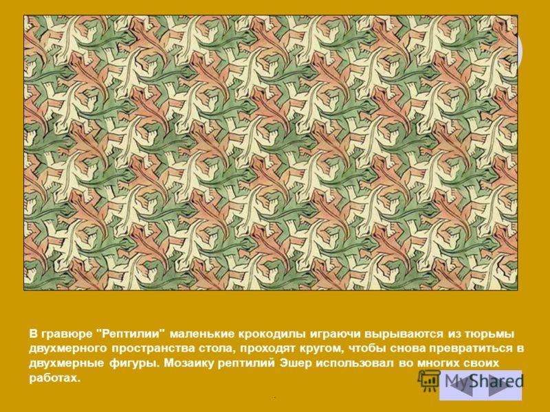 В гравюре Рептилии маленькие крокодилы играючи вырываются из тюрьмы двухмерного пространства стола, проходят кругом, чтобы снова превратиться в двухмерные фигуры. Мозаику рептилий Эшер использовал во многих своих работах..