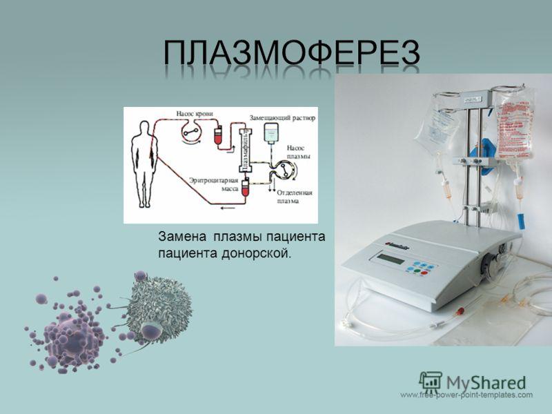 Замена плазмы пациента пациента донорской.