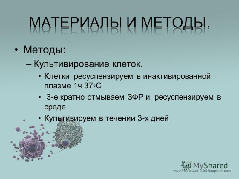 Методы: –Культивирование клеток. Клетки ресуспензируем в инактивированной плазме 1ч 37С 3-е кратно отмываем ЗФР и ресуспензируем в среде Культивируем в течении 3-х дней