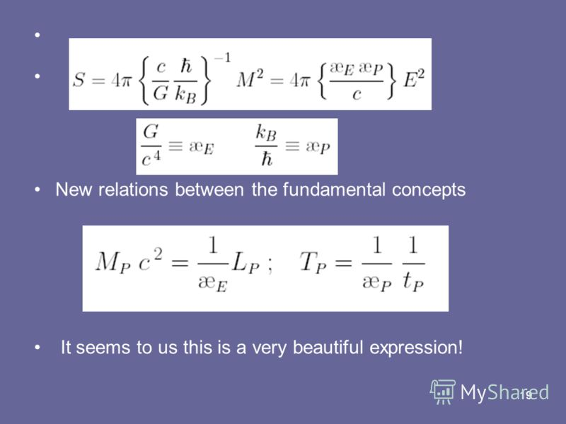 19 New relations between the fundamental concepts It seems to us this is a very beautiful expression!
